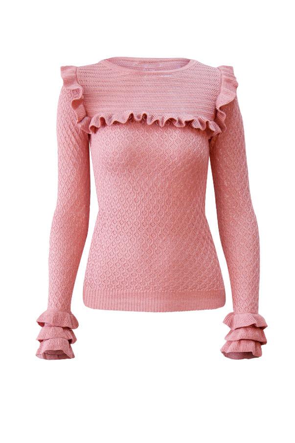 Ruffles Knit Top Pink Shop Tops At Galeria Tricot Galeria